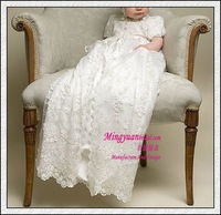 Appliqued Modest with flower on christening baby dress