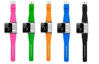 HK post 1pc  iWatchz wrist watch band strap for 6th gen mp4 player, silicone case for 6th gen mp4 player