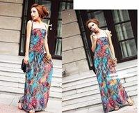 Free Shipping Fashion Women Bohemian Skirts Halter Maxi Full Long Dress Summer Printing Floor-Length Sexy Dress MG-016
