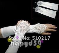 195pair  long style flower satin bride gloves free ship hook finger banquet  wedding fingerless lace gloves