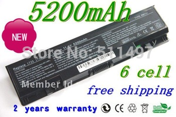 HOT+long life High quality   6 cells 5200MAH battery replacement for DELL 312-0701 WU946 RM791 KM973 1737  1736 1735