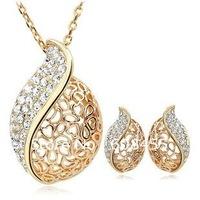 Bridal Wedding Jewelry,Austria Crystal Classic Teardrop Jewelry set,18KGP Waterdrop Leaf Pendant Neckalce+Stud Earring Set