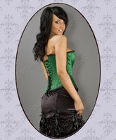 Free Shipping! Sexy Women Overbust Waist Slimming Green Corset Tops