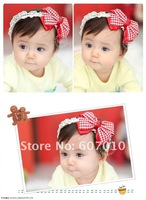 Mix Wholesale 2012 NEW bowknot headband/ Fashion gifts baby girls hair wear, Cute plaid lace Hair Accessories/ 20pcs/lot