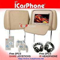 1pair  7-inch car headrest DVD player TV+USB+SD+Game+IR+FM+Free 2PCS wireless game pads+2PCS WIRHeadphones--TAN COLOR