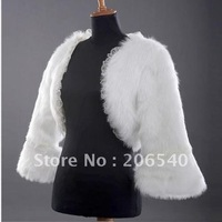 Faux Fur Lvory Wrap Shrug Bolero Stole Shawl Bridal Bridesmaids Wedding dress