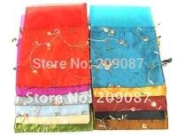 Free shipping! lots 200 pcs chiffon Silk Brocade Pouches bags Organza Drawstring silk bag