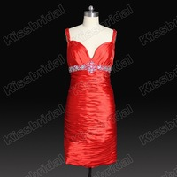 2012 Real Sample Hot Sale Sweetheart Beadings Spaghetti Strap Taffeta Short Cocktail Party Dress