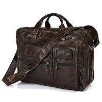 Free Shipping 100% Genuine Vintage Leather Men's Chocolate JMD Business Briefcase Portfolio Handbag Messenger Laptop Bag #7093Q