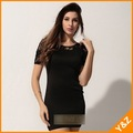Free shipping!!2012 fashion O neck short sleeve lace matching flower perspective black color sexy dress above knee dress XG16013