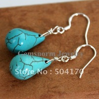 High Quality  Natural Turquoise Drop Earrings Teardrop Turquoise Earrings 925 Sterling Silver Turquoise Earrings ER017