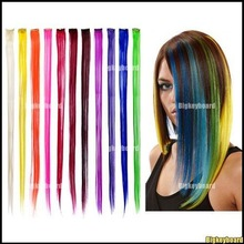 "10x New 24"" Straight Colored Colorful Clip On In Hair Extension/Hair piece Free Shipping(China (Mainland))"