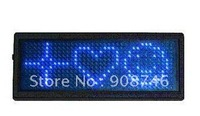 Free shipping blue color multi language 12*36pixels programmable rechargeable led name card badge 3pcs/lot