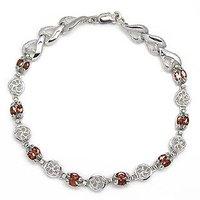 Free shipping Bracelet Natural garnet with 925 silver plate 18k white gold chain bracelet ,garnet size 2*4mm,#12