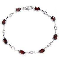 Free shipping Garnet bracelet Natural garnet with 925 silver plate 18k white gold chain bracelet ,SIMPLE style,#6