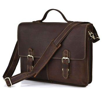 Wholesale 5 PCS/Lot Unique Vintage Crazy Horse Leather Men's Dark Brown Briefcase Messenger Laptop Bag FREE SHIP #7090R