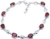 Free shipping Chain bracelet Natural garnet 925 silver plate 18k white gold chain bracelets ,gem size 4*6mm,,#23