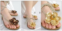 resales or wholesales lady fashion sandal shoes nice flats golden and brown colors shoes 1 pairs Free shippings