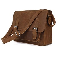 Free Shipping Rare Crazy Horse Leather Men's Brown Messenger Cross Body Bag Purse HOBO  #7089B