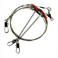 Free Shipping 20pcs Stainless Steel Fishing Wire Leader with Rigs & Swivels