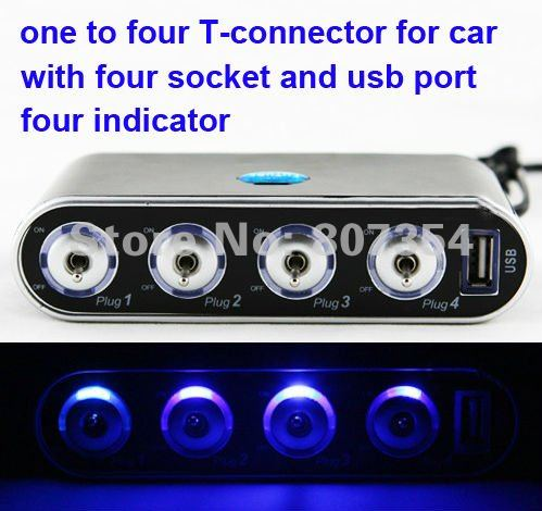 free shipping,one to four T-connector for car, Cigarette lighter socket , usb port, four Indicator,Practical and beautiful,HOT!(China (Mainland))