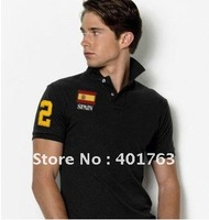 Free shipping Men's spain flag polo shirts 2# black polo shirts Men's short sleeve t-shirts can mixed order