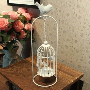 HOT SALE!!! Free Shipping retail and wholesale European style white iron birdcage shape candleholder
