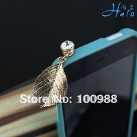 IP019 10pcs/Lot Alloy Fashion Phone  Crystal Ladies' Rhinestone Gold Dust Plug