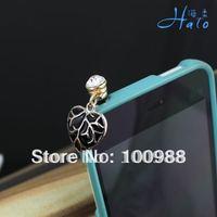 IP020 10pcs/Lot Free Shipping Alloy Fashion Phone  Crystal Ladies' Rhinestone Leaf Dust Plug