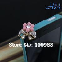 IP021 10pcs/Lot Crystal colors!Alloy Fashion Phone  Crystal Ladies' Rhinestone Pink Flower Wholesale Dust Plug