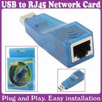 10pcs/Lot_ETHERNET 10/100 NETWORK ADAPTER USB TO LAN RJ45 CARD_Free Shipping