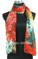 Free shipping! Lots of 5pcs 100% Silk chiffon Scarf Wrap shawl Sari scarves