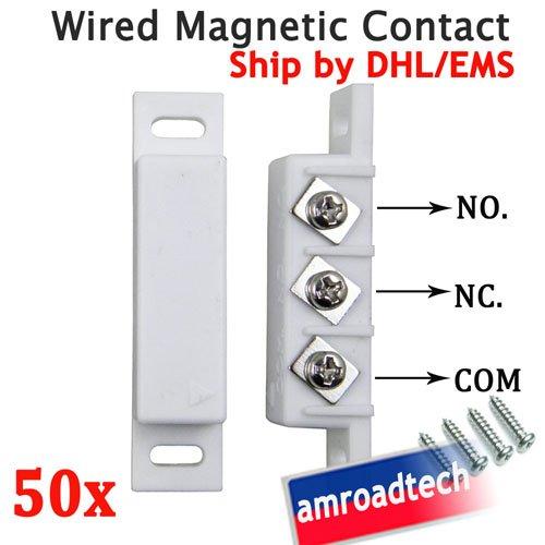 50 pcs/lot проводная магнитный дверь окно контактные датчик вт no / nc нормально открытая / закрытый выход AT-DC02W