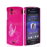 BUTTERFLY HARD RUBBER BACK CASE COVER FOR SONY ERICSSON XPERIA RAY ST18i FREE SHIPPING