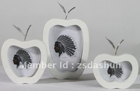 DS3043WTS  New small white paint apple silver plate leaf frame wedding gift home decoration craft