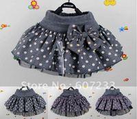 2013 free shipping fashion Large dot the woolen Tong skirt fashion blended Tong skirt