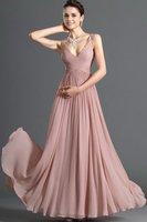 New style!Champagne Shoulder Straps V-neck Empire Full-length Chiffon Mother's Dress Evening Dress 2013 Dress