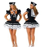 Plus size Free shipping Sexy sailor sea costume Classic women halloween costumes fancy dress  black white   OS1202