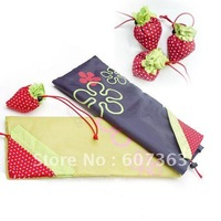 Free shipping Cheapest promoted reusable strawberry foldble shopping bag Pattern random