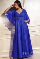 New style!V-neck chiffon sleeves empire full-length custom-made evening dress 2013 dress