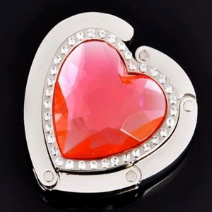 FREE SHIPPING+The Lowest Price Heart Ruby Design Folding Purse hanger/Bag Hanger/Handbag Holder +100pcs/Lot