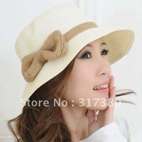 Loverly Sweet Large Bowknot Women Straw Straw Sun Hats Cloche Spring Summer Fashion Designer Bucket Hats r Spring Summer 2013
