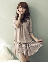 2012 the new spring clothing women's pure color beauty shoulder han bowknot joker sleeves chiffon dress summer dress