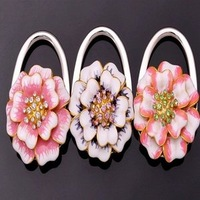 FREE SHIPPING+The Lowest Price Flower Design with Different Colors Folding Purse Hanger/Bag Hanger/Handbag Hook  +100pcs/Lot