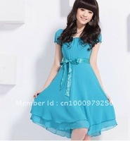 2012 new women's sweet spring new pure color short sleeve chiffon dress