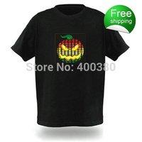 Free shipping EL T-shirts,t shirt,equalizer t-shirt,el tshirt sound active,el music flashing tshirt ,led tshirt 77044