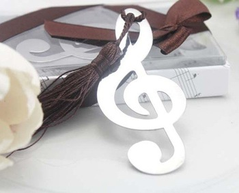 "Free Shipping Wedding Favor bookmark 100pcs/lot --""Timeless Duet"" Brushed Metal Openwork Music Bookmark with Elegant Silk Tassel"
