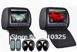 Dual 9 inch headrest monitor car dvd player with zipper +2PCS IR wireless headphones+Game+IR+USB+SD+FM+free shipping retail/pair(China (Mainland))