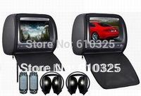 Dual 9 Inch Headrest Monitor Car DVD Player Zipper 2PCS IR Wireless Headphones Free Shipping Retail/Pair