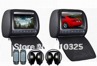 Dual 9 Inch Headrest Monitor Car DVD Player Zipper 2PCS IR Wireless Headphones Game IR USB SD FM Free Shipping Retail/Pair